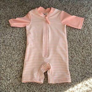 NEW H&M short sleeve rash guard pink stripe